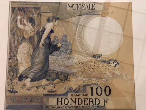 Original artwork for Belgian 100 franc note