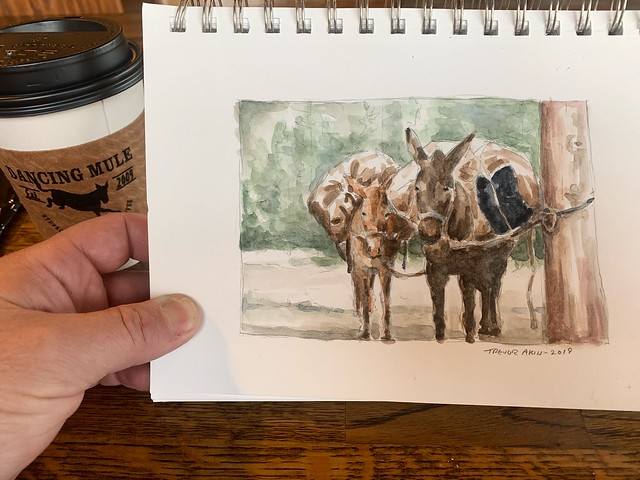 Painting mules at Dancing Mule Coffee Co.