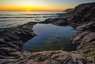 Polzeath rockpool at sunset