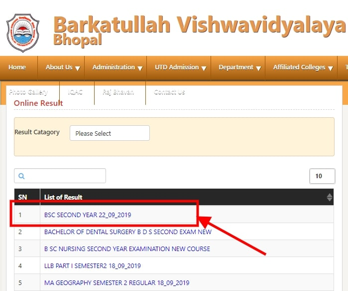 BU Bhopal BSc 2nd Year Result 2019 Announced! Check at bubhopal.ac.in