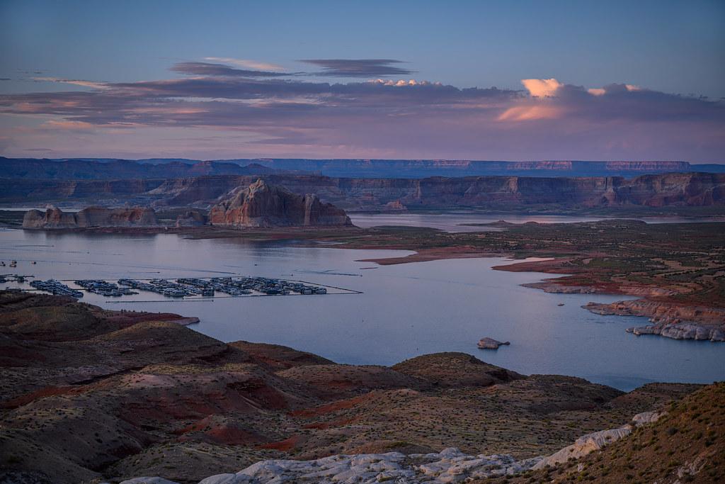 Sunset over Lake Powell and Wahweap Marina near Page, Arizona