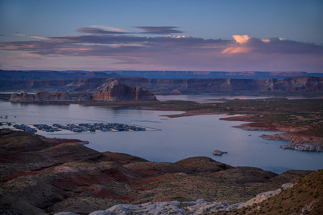 Sunset over Lake Powell and Wahweap Marina near Page, Arizona