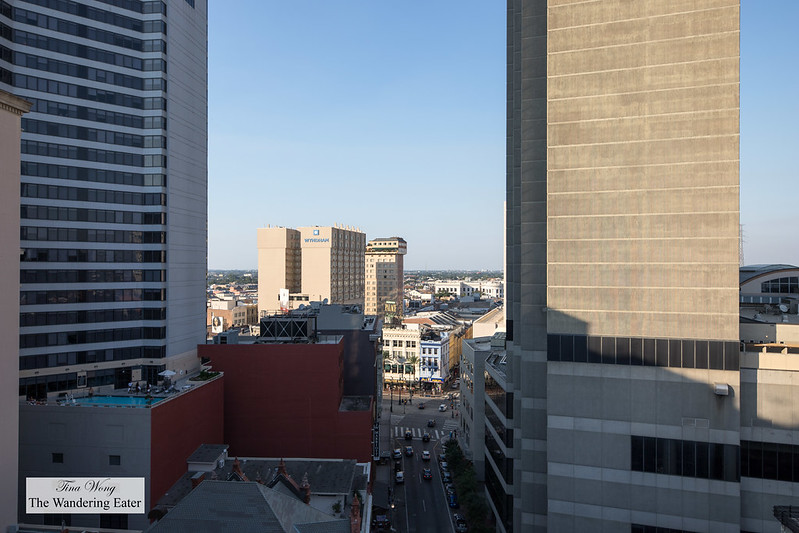 Panoramic view of downtown New Orleans at the Cityscape Penthouse balcony