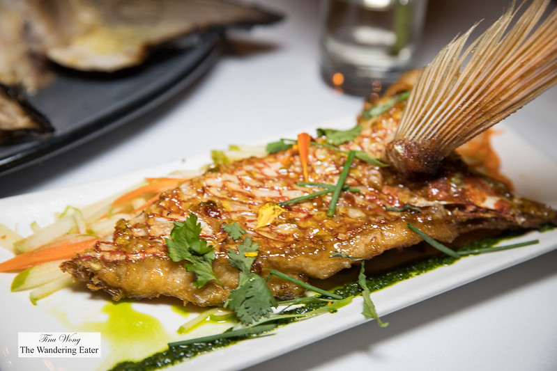 Red Snapper fin wings with sweet-savory sauce and slaw