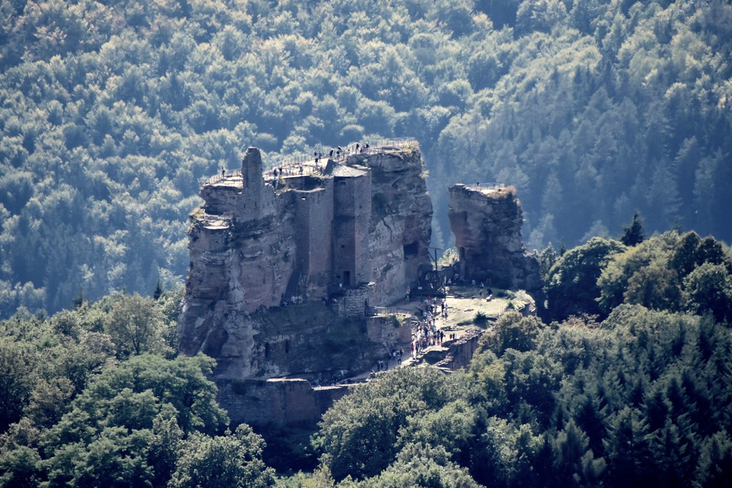 View to chateau der Fleckenstein from a hike to the castles, there is a hike to 4 castle here, 3 in France and 1 in Germany