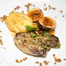 Seared Hudson Valley Foie Gras, roasted corn madeleine, Ruston peach coulis, brûléed local figs and spiced pistachio brittle
