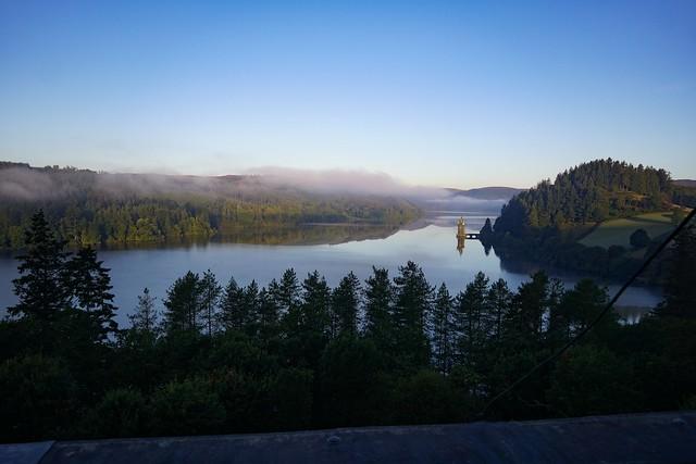 Morning mist over Lake Vyrnwy.
