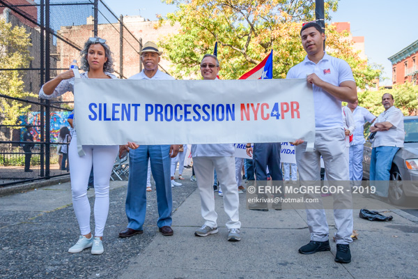 Silent procession #NYC4PR in solidarity with Puerto Rico