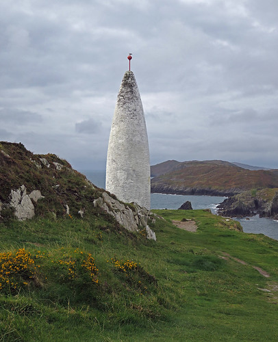 Unusual beacon on a cliff in Baltimore, Ireland