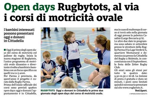 Gazzetta di Parma 14.09.19 - RUGBYTOTS - Open days