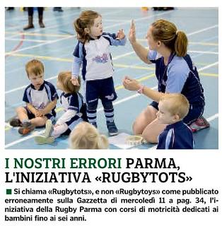 Gazzetta di Parma 12.09.19 - Errata corrige Rugbytots