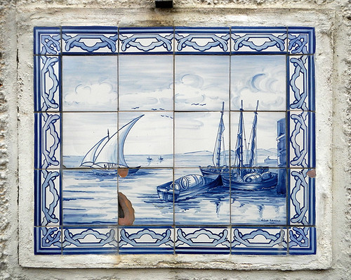 Fishing scene portrayed in tiles in Baltimore, Ireland