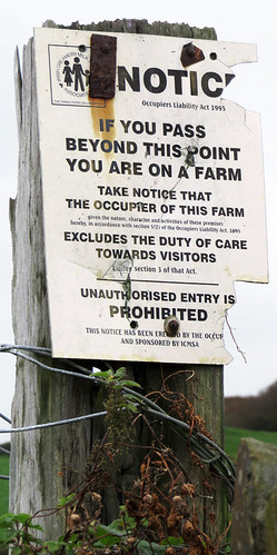 Sign on the farmer's field next to the stone circle in Drombeg, Ireland