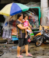 Woman shopping with her daughter
