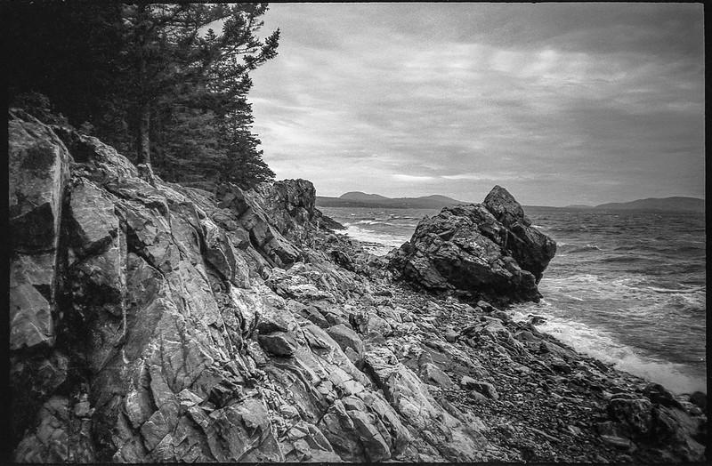 huge bolder, rocky shoreline, Camden Hills, Owl's Head State Park, Owl's Head, Maine, Nikon SmileTaker (RF 10), Derev Pan 400, HC-110 developer, 9.7.19