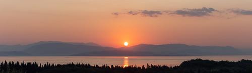 corfu greece katokorakiana ionianislands ypsos ipsos dassia sun raise awakening landscape albania horizon