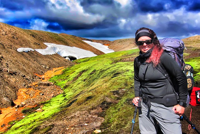 Iceland ~ Landmannalaugar Route ~  Ultramarathon is held on the route each July ~ Hiking to New Camp Site - One Hiker Posing