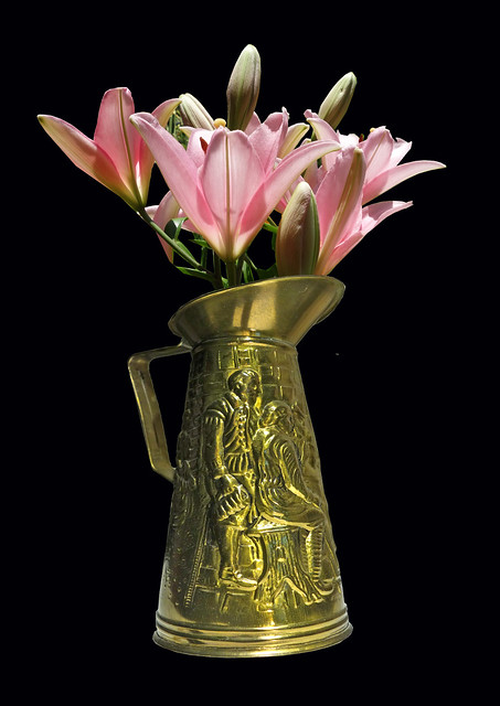 Stamped brass vase - Made in England -  with Lilies