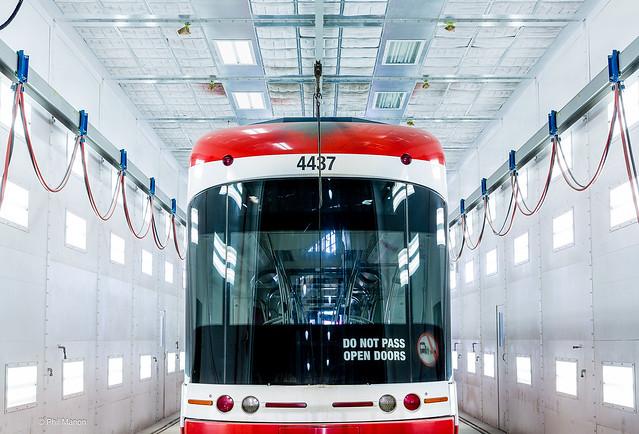 Streetcar in TTC Leslie Street Barn- Toronto