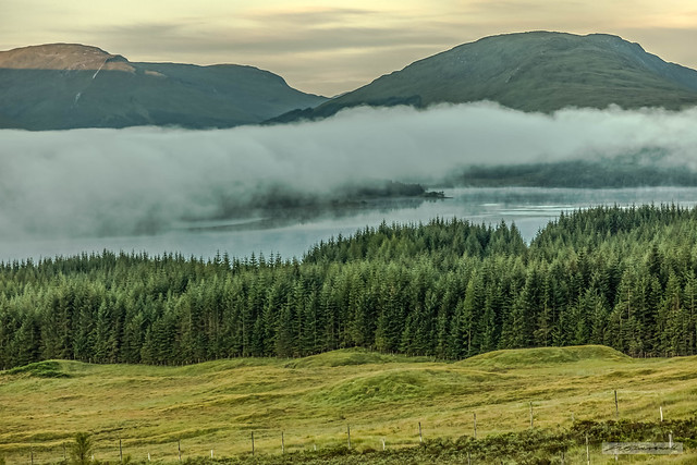 Cloud over Loch Tulla near Bridge of Orchy and Rannoch Moor at dawn-05:39.