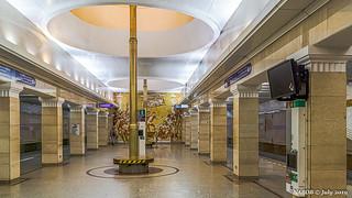 Saint Petersburg, Russia: Sportivnaya metro station, Line 5 (Purple) - Opened 1997
