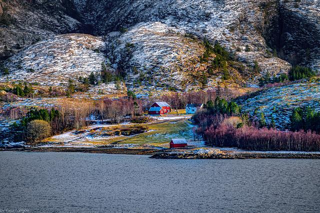 View of the surrounding landscape along the Nærøysundet strait, Norway-14a