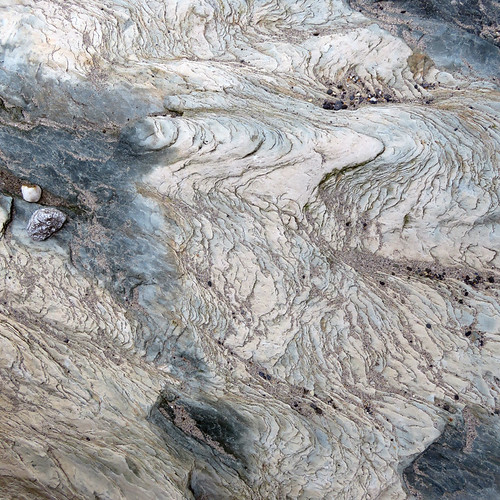 Wavy slate-like rocks resemble a Chinese painting at a beach near Galley Head in Ireland