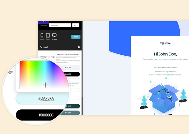 Customize Email template