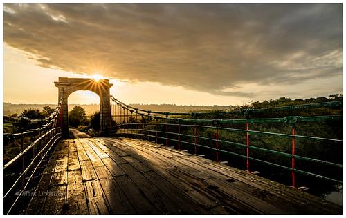 shadows sunburst sunrise rural dynamicrange landscape eosr canon old suspension bridge ancholme northlincolnshire horkstowbridge goldenhour longshadows