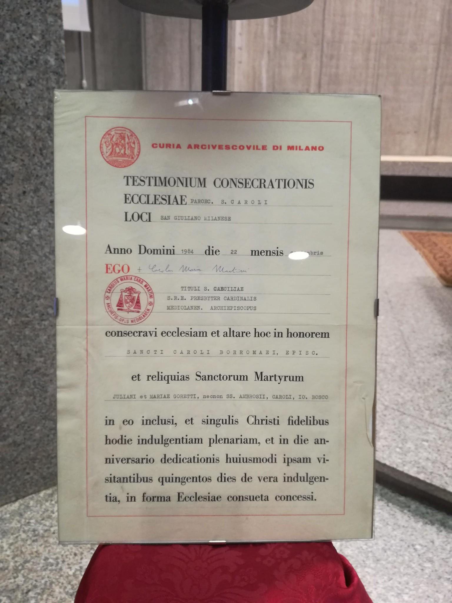 La Parrocchia San Carlo Borromeo festeggia 35 anni dalla costruzione