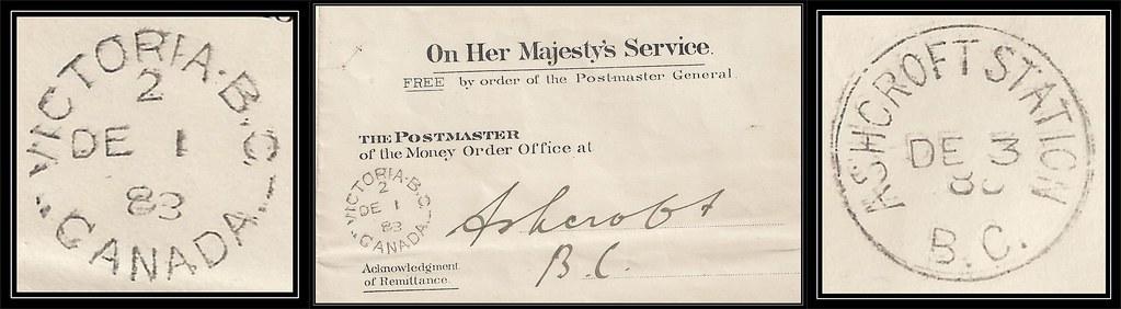 British Columbia / B.C. Postal History / OHMS Free Franked - 1 / 3 December 1888 - VICTORIA, B.C. (split ring / broken circle cancel / postmark) to Ashcroft, B.C. / (Ashcroft Station)