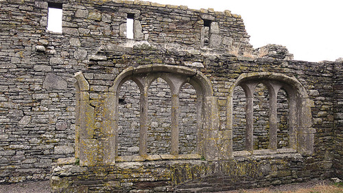 The stone walls of the Timoleague Friary Ruins in Ireland