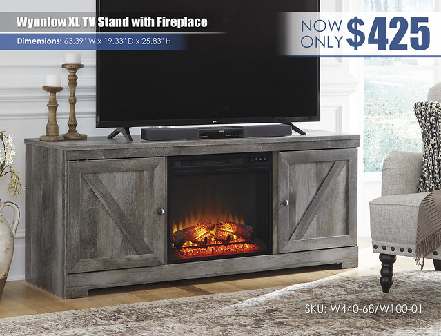 Wynnlow XL TV Stand with Fireplace_W440-68-W100-01