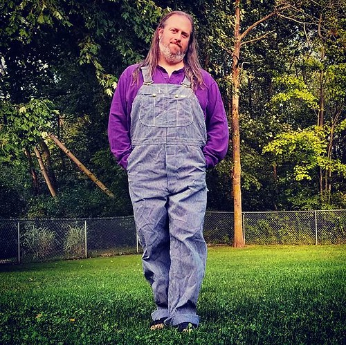 Yup--new overalls! Vintage Lee hickory stripe, NEW WITH TAGS Y'ALL! I got the eBay alert and bid immediately. It was a bidding auction so I had to wait and watch for four days, and I turned sniper...but NOW THEY ARE MINE. #overalls #dungarees #biboveralls