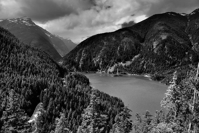 Views Seen at the End of the Thunder Knob Trail (Black & White, North Cascades National Park Service Complex)
