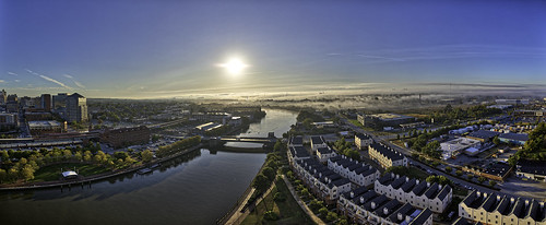 wilmington delaware christinariver bridge sun sunrise morning fog inversion sky blue city cityscape landscape panoramic canon eos5dmarkiv hdr aurorahdr2018