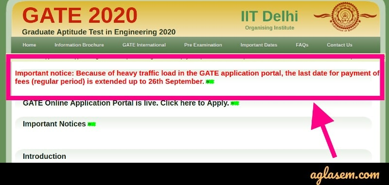 GATE 2020 Application Form Extended