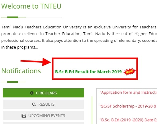 TNTEU B.Sc B.Ed Result for March 2019 announced!