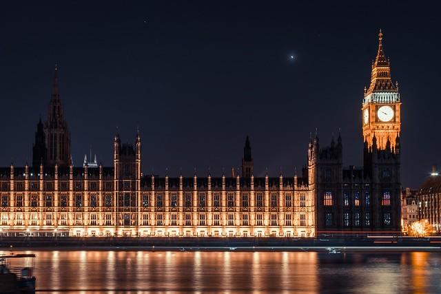 UK Parliament at night