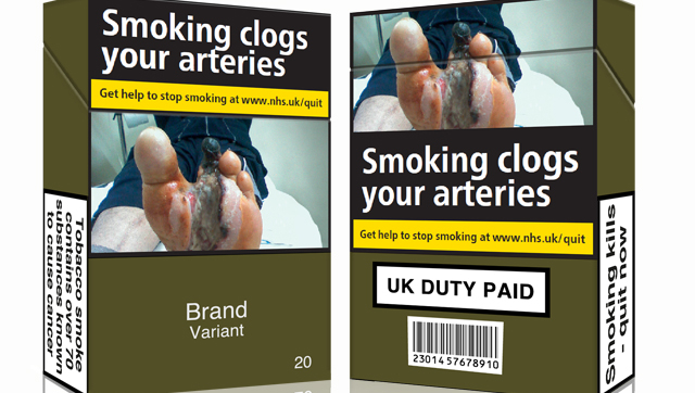 An example of standardised cigarette packaging, including a health warning. Credit: ASH