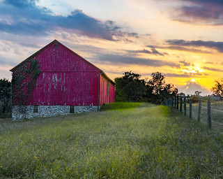 red barn at sunset 2