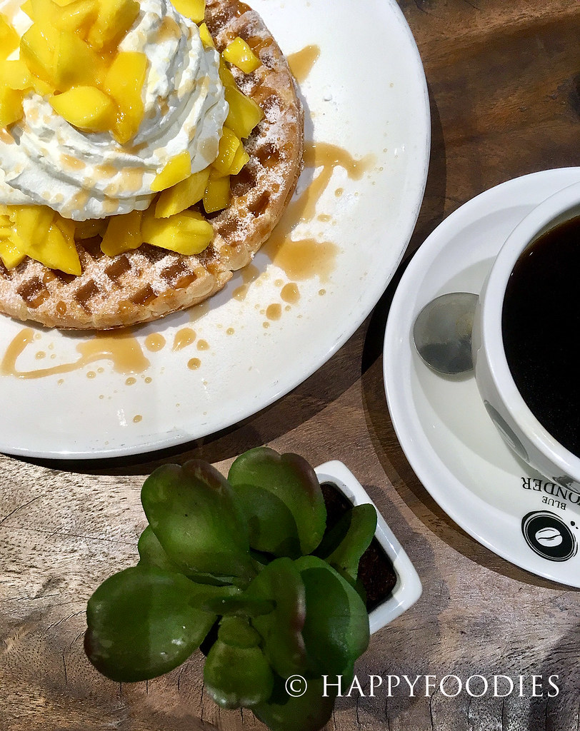 Mango caramel waffle and coffee