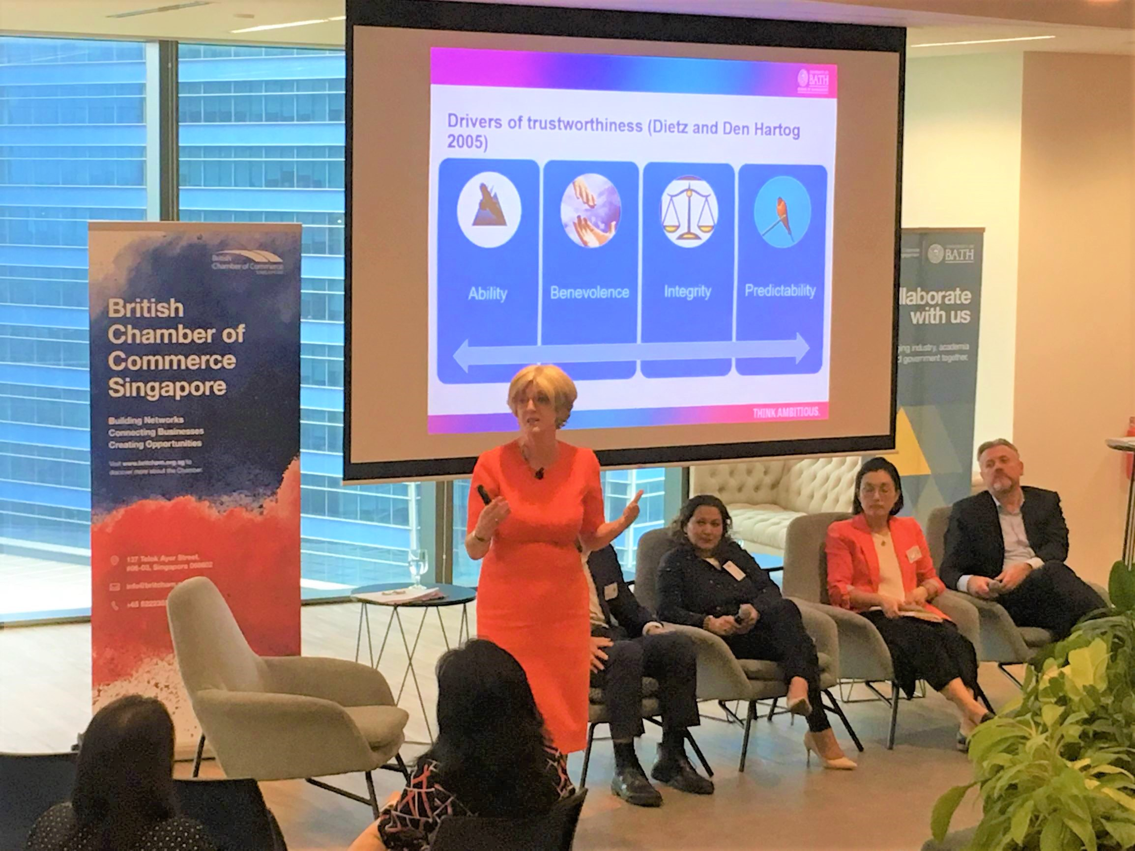 Professor Veronica Hope Hailey, Vice President External Engagement, presenting at a Future Leadership event at Prudential Singapore HQ.