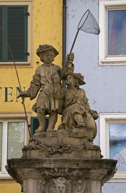 Würzburg, Karmelitenstraße, Fischerbrunnen (fisher fountain)