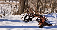 Abandoned rusty farm implement, near Ballinafad, Halton Hills, Ontario.