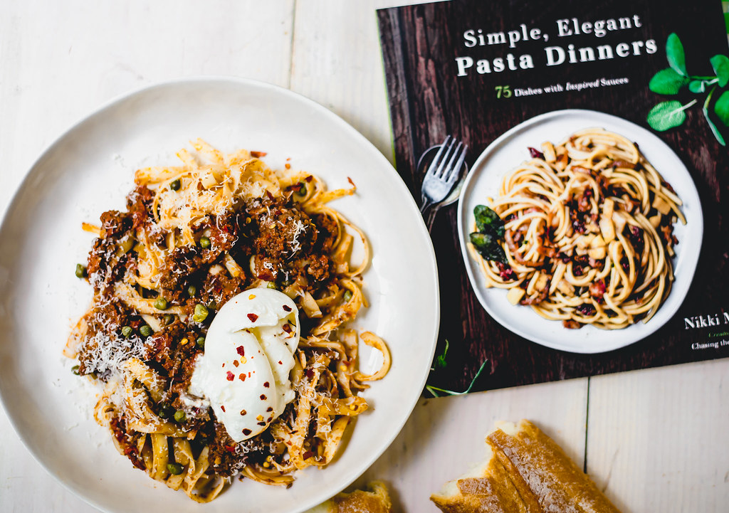 Weeknight dinner with a bit of a kick! Chorizo bolognese with briny capers and finished with creamy burrata cheese.