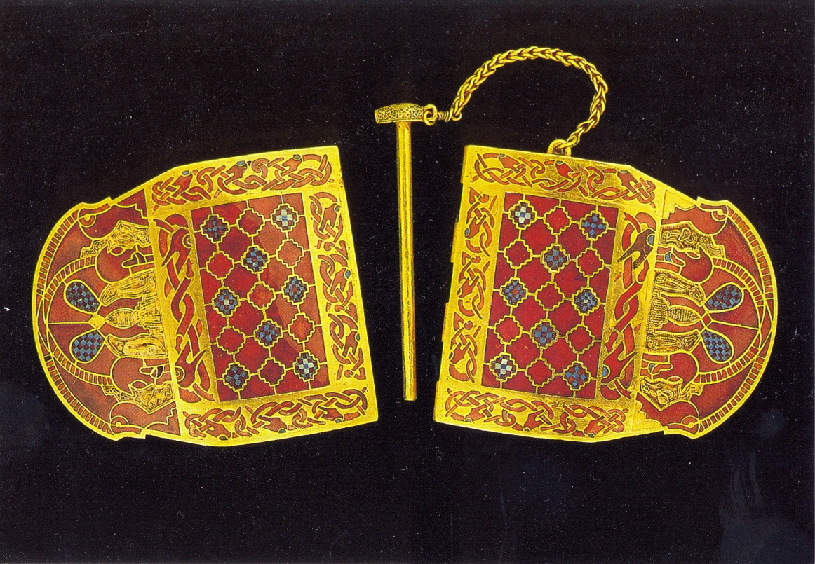 One-of-gold-shoulder-clasps-with-cloisonne-and-millefiori-C7th-Sutton-Hoo-BM