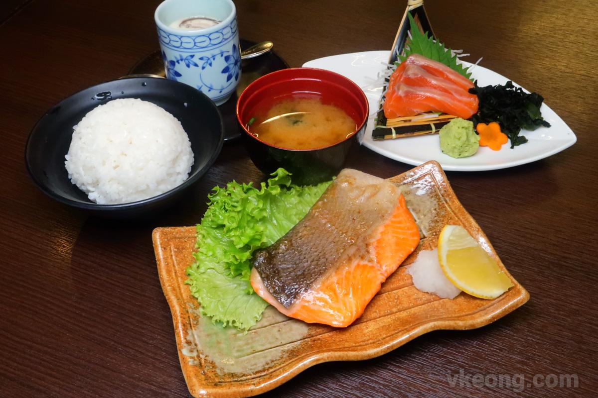 Grilled-Salmon-with-Salmon-Sashimi-Set-Menu