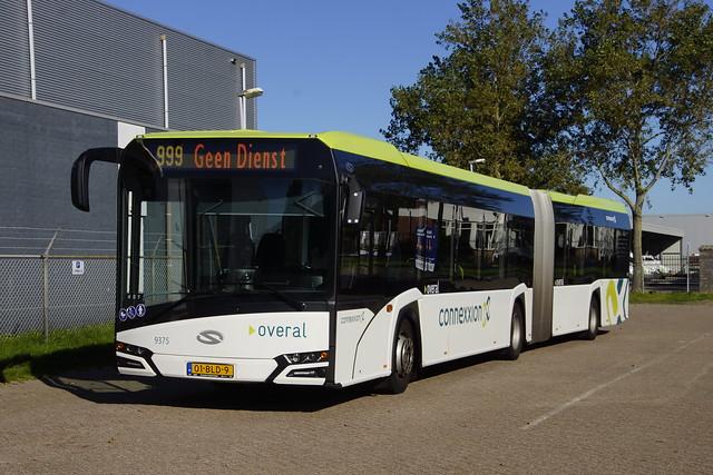 Solaris Urbino nSU18 Connexxion 9375 met kenteken 01-BLD-9 in de bus garage van Den Helder 21-09-2019
