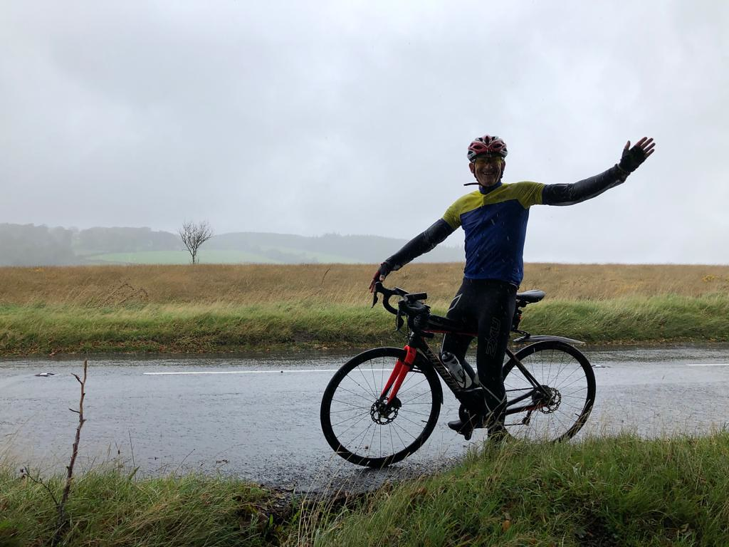 Mike shrugging off the weather